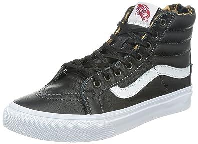 Vans Sk8 Hi Slim Zip Womens Trainers, (leather) blackleopard,