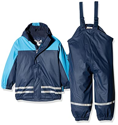 super popular f4ac2 088da Playshoes Baby-Jungen Regenjacke Kinder Wasserdichter Matschanzug,  Regenanzug mit Fleece-Futter, Reflektoren, Abnehmbare Kapuze