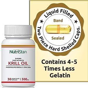 NutrastanXP Krill Oil (Superba) Phospholipid Omega 3 with Astaxanthin 500 mg - 30 Capsules