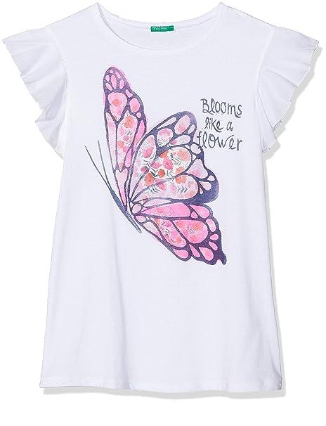 United Colors of Benetton T-Shirt, Camiseta para Niñas, Blanco (White 101