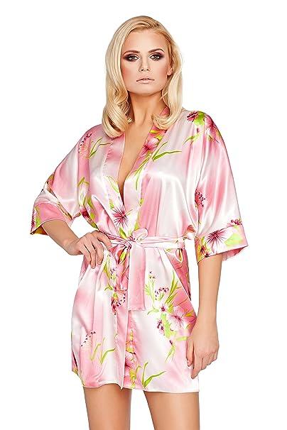 Postero PN105 bata Kimono o cama de matrimonio de aliños para raso albornoz con capucha de novia: Amazon.es: Ropa y accesorios
