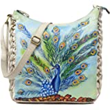 LEADERACHI Women's NDM Leather Hand Painted Sky Blue and White Messenger Bag