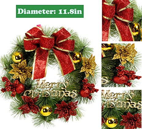 christmas wreath christmas decorations poinsettia pine needles bowknot christmas garland door wall hang garlands for xmas - Poinsettia Christmas Decorations