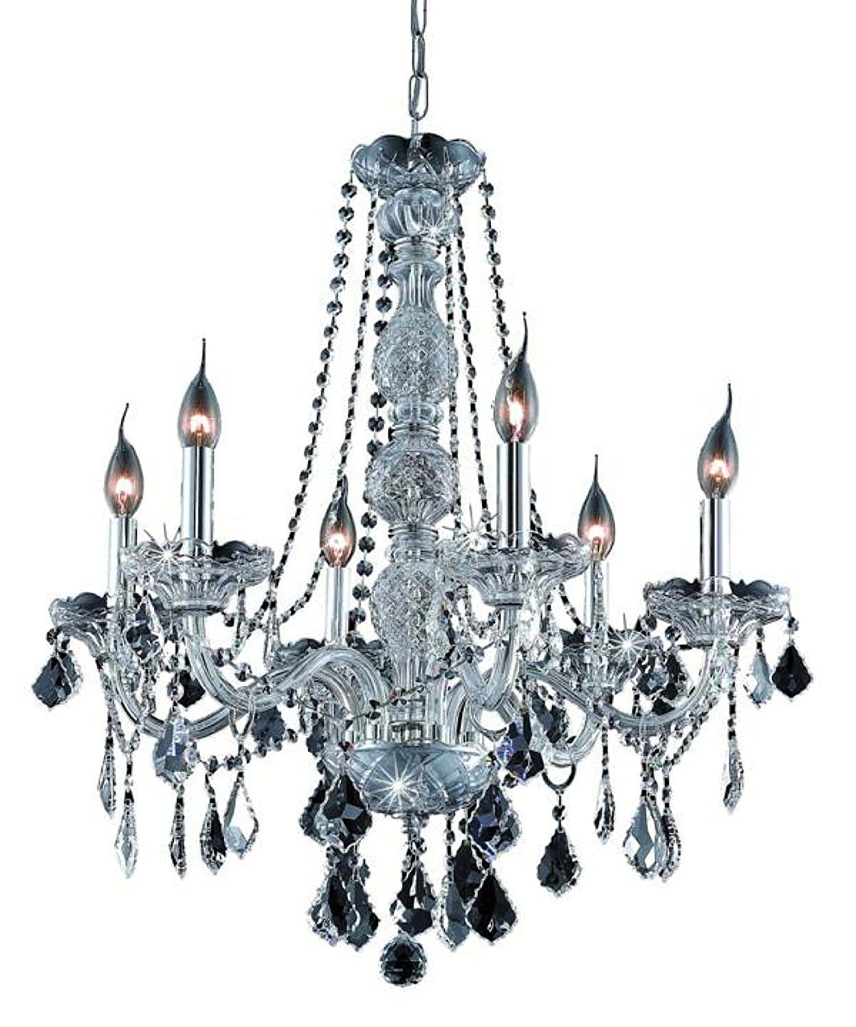Elegant Lighting 7856D24SS-SS RC Verona 28-Inch High 6-Light Chandelier, Silver Shade Finish with Silver Shade Grey Royal Cut RC Crystal