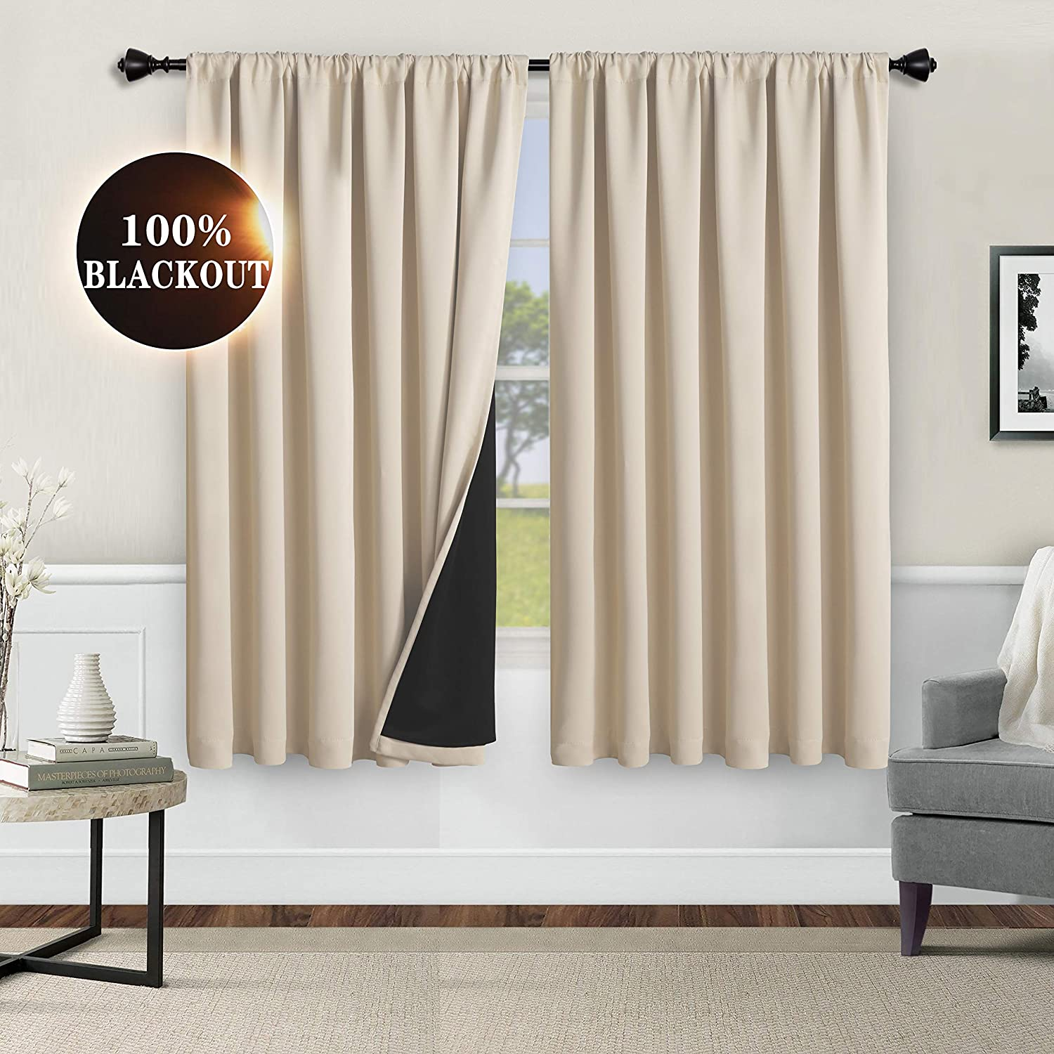 WONTEX 100% Thermal Blackout Curtains for Bedroom - Winter Insulating Rod Pocket Window Curtain Panels, Noise Reducing and Sun Blocking Lined Living Room Curtains, Beige, 52 x 63 inch, Set of 2