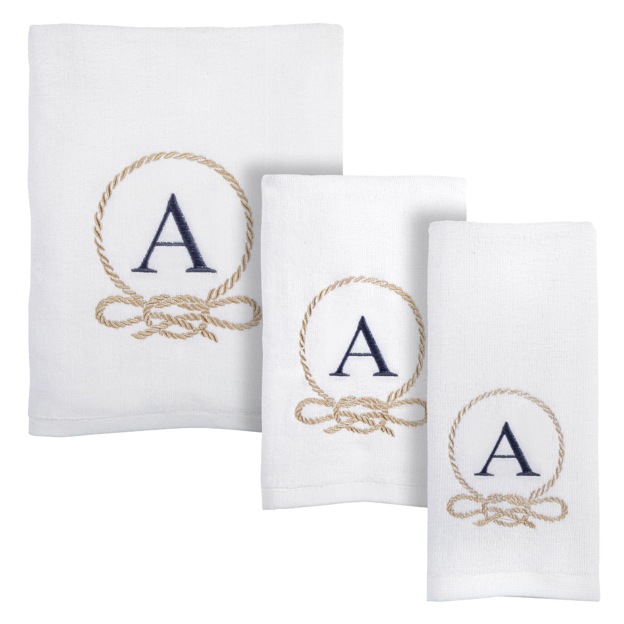 Traditions White Coastal Embroidered Monogram Towel Collection, 3-Piece Set, Bath, Hand and Fingertip Towels (Letter D)