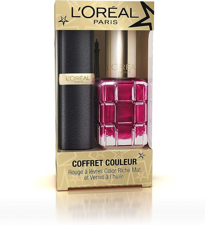 L Oréal Paris edición limitada Navidad estuche Pintalabios color Riche mate/VERNIS óleo: Amazon.es: Belleza
