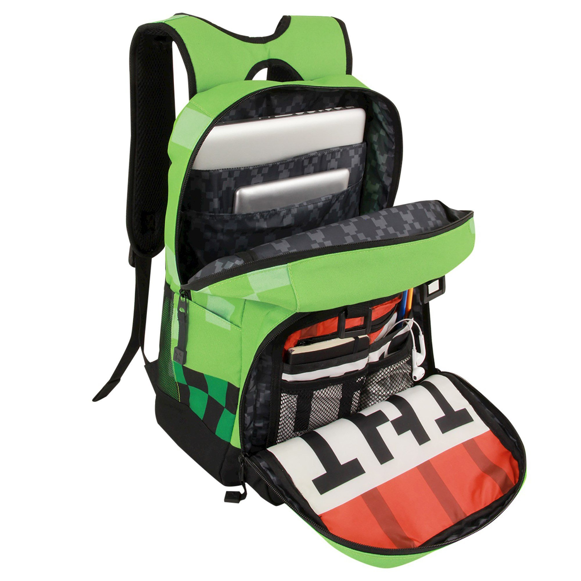 JINX Minecraft Creeper Kids Backpack (Green, 18'') for School, Camping, Travel, Outdoors & Fun by JINX (Image #3)