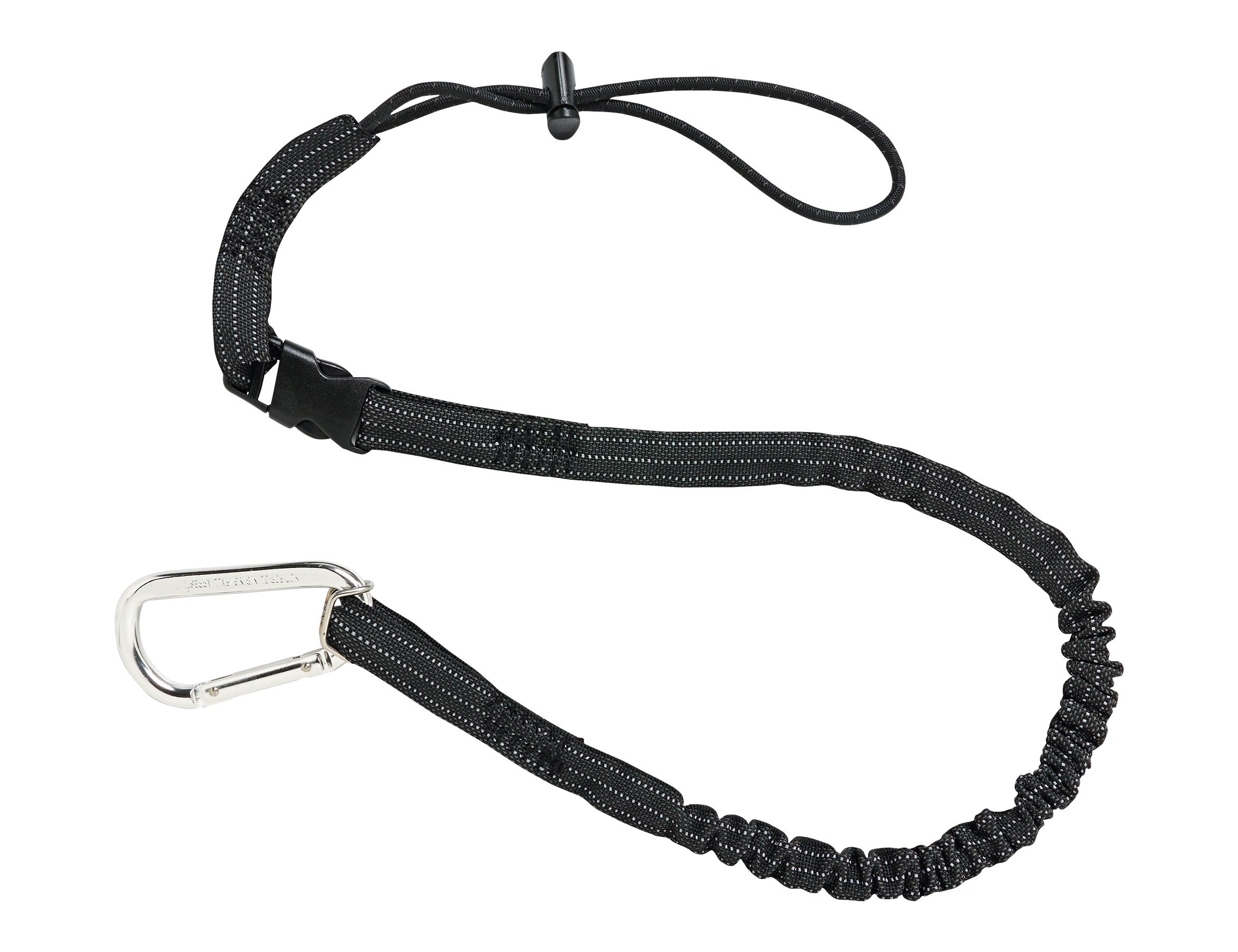 Ergodyne Squids 3102 Tool Lanyard with Single Carabiner and Detachable Adjustable Loop End, Standard Length, Black, 5 Pounds