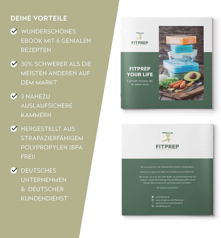 Original de FITPREP® [Pack de 10] Contenedor de alimentos con 3 ...