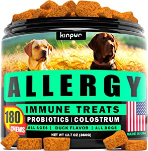 Dog Allergy Chews for Itchy Skin and Hot Spots - Seasonal, Food, Skin Allergy Relief Immune Supplement for Dogs with Omega, Apple Cider Vinegar, Probiotics - Effective Itch Relief for Dogs