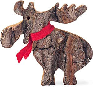 Forest Decor Rustic Wood Moose Decoration with Red Scarf, Rustic Cabin Decor, Living Room, Nursery, or Bedroom Display, Wooden Holiday Christmas Figurine, Forest Animals (1, Small)