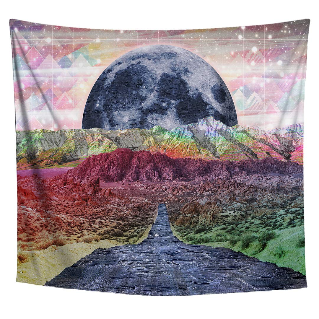 Lucid Eye Studios Rainbowland Tapestry Blue River Wall Decor Premium Psychedelic Rainbow Wall Art Colorful Landscape Wall Hanging