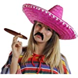 6 X MEXICAN SOMBRERO HATS 6 X MOUSTACHE 6 X FAKE JUMBO CIGAR STRAW COLOUR