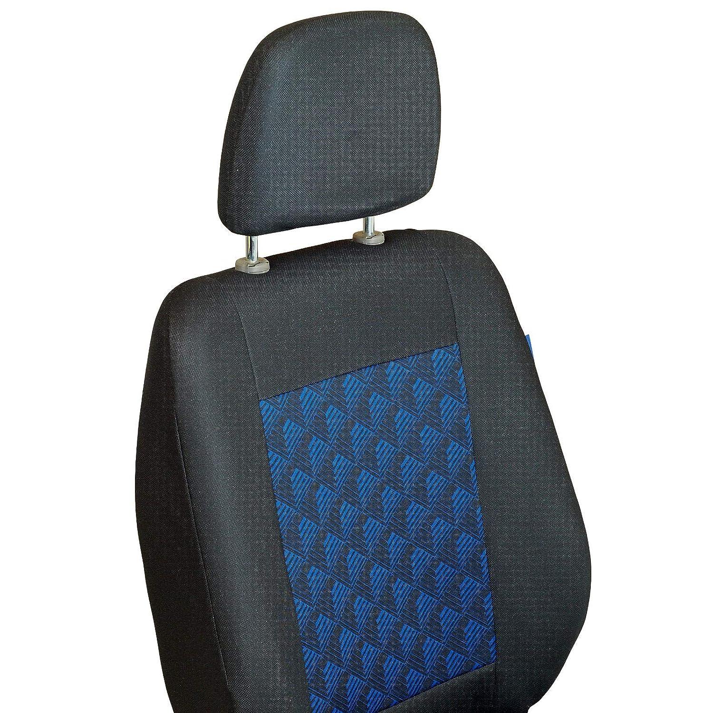 Color Premium Negro con Efecto 3D Azul Conjunto De Fundas 1+2 Zakschneider Fundas De Asiento para Mercedes Vito Cargo