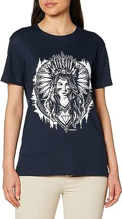 Kızılderili Kız Lacivert Kısa Kollu Kadın T-shirt