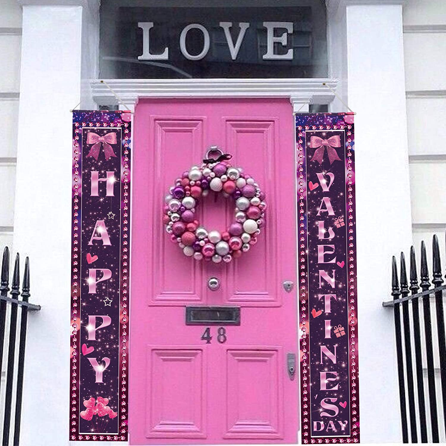 Valentines Day Decorations Banner Valentine/'s Day Porch Sign Hanging Flag for Indoor//Outdoor Home Front Door Yard Decoration Valentines Day Door Banner Sign