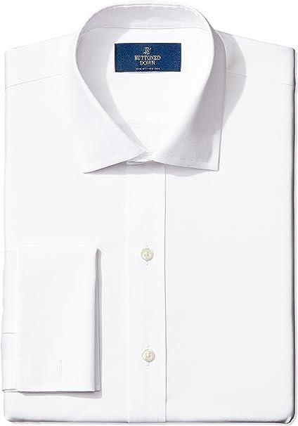 Marca Amazon - BUTTONED DOWN – Camisa de vestir con puño francés de corte entallado de algodón Supima para hombre que no necesita planchado: Amazon.es: Ropa y accesorios