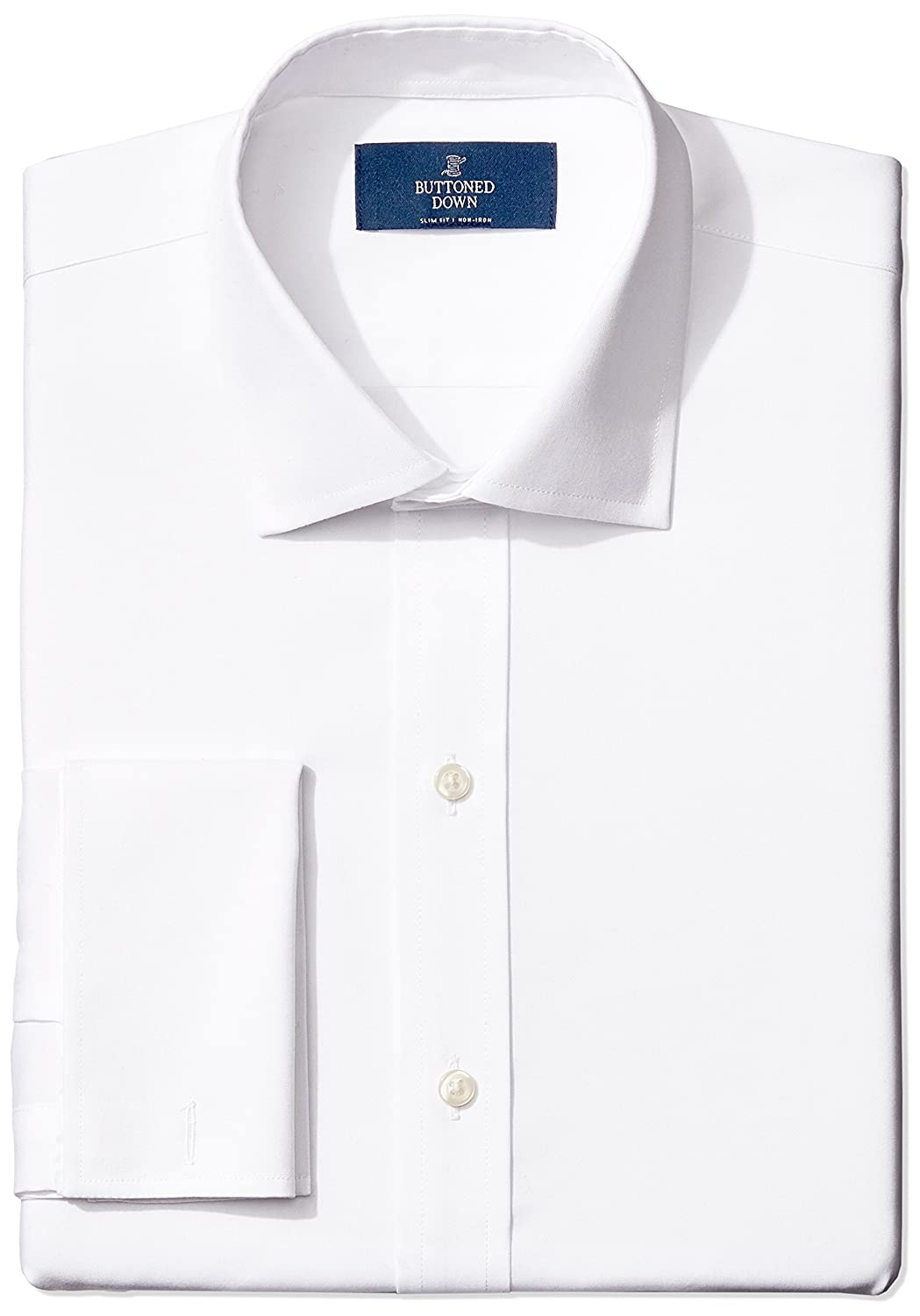 Buttoned Down Men's Slim Fit French Cuff Spread-Collar Non-Iron Dress Shirt MBD30020
