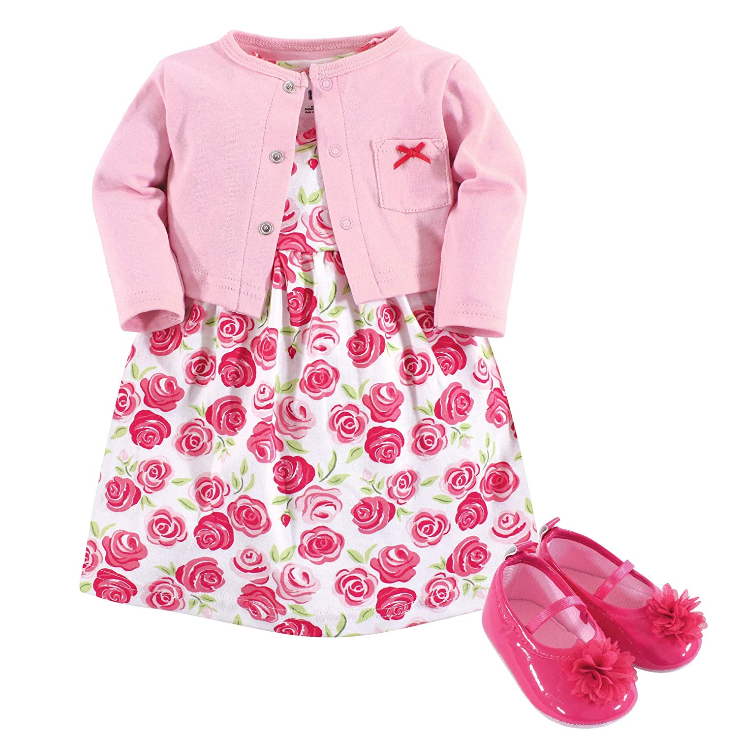 Hudson Baby Girl Dress Cardigan and Shoes