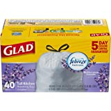 Glad OdorShield Tall Kitchen Drawstring Trash Bags - Febreze Mediterranean Lavender - 13 Gallon - Pack of 40