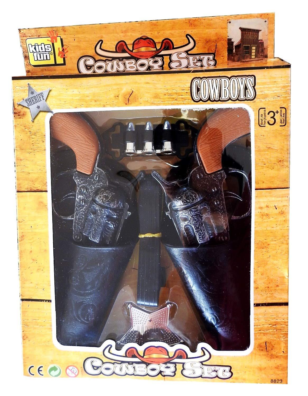 Inception Pro Infinite 2 Pistolas de Juguete - del Sheriff - con Fundas - Estrella del Sheriff - Cinturón - 3 Balas Decorativas - Niño - Set de Vaquero - Idea de Regalo (Negro) Kids Fun