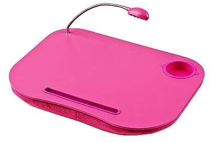 Premier Housewares - Bandeja con cojín y flexo para ordenador portátil, color rosa