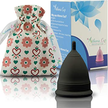 Athena Copa Menstrual – La copa menstrual más recomendada - Incluye una bolsa de regalo - Talla 2, Negro liso - ¡Ausencia de pérdidas garantizada!