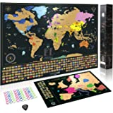 Scratch Off World Map Poster + BONUS Europe Map, Accessories and Gift Packaging | Detailed Travel Map with Landmarks, Country Flags and Vibrant Colours | 61 x 43 CM | The Perfect Gift for Travelers