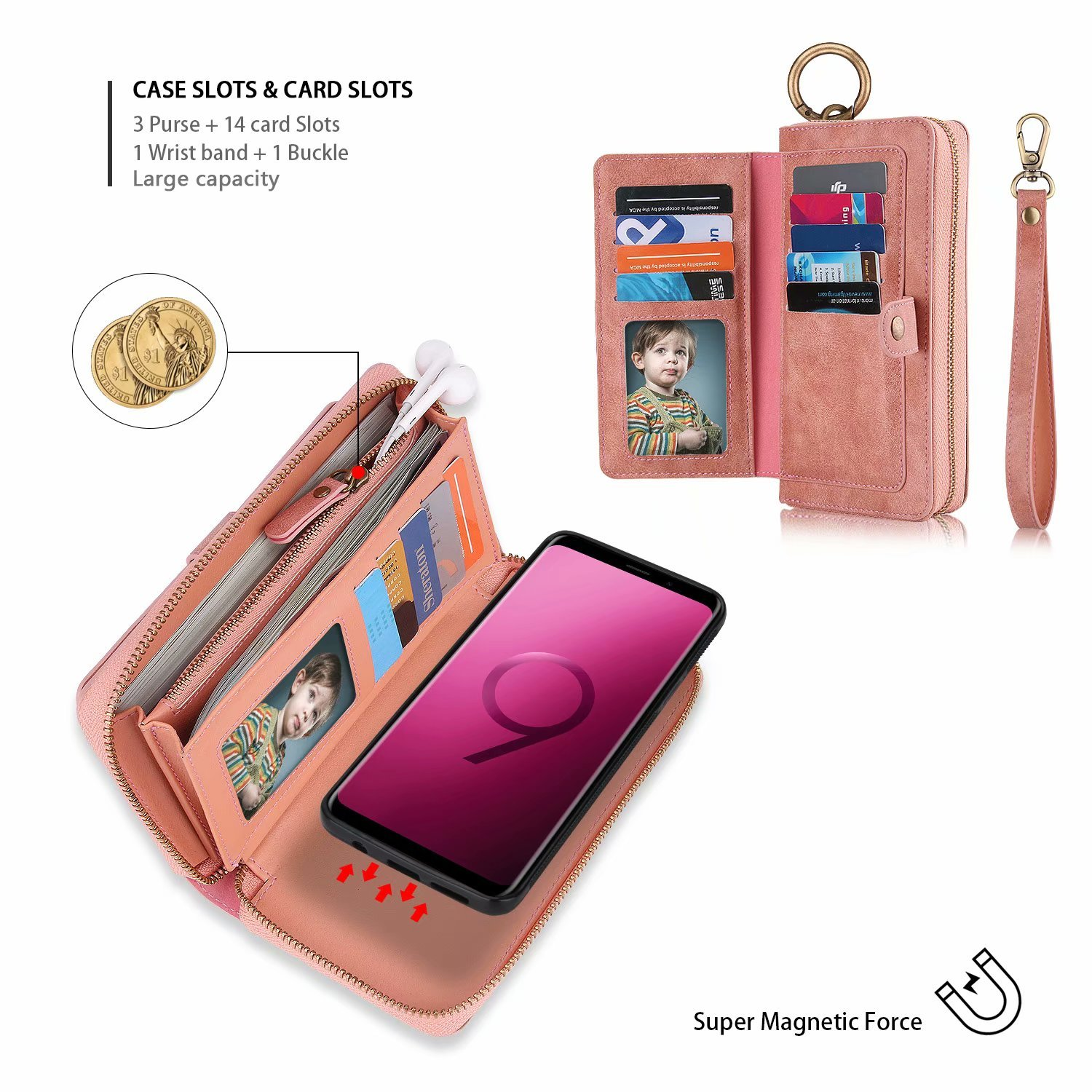 Galaxy S9 Plus Wallet Phone Case,GX-LV Samsung Galaxy S9 Plus Wallet Case Leather Case Cover Zipper Pouch with 14 Card Holder,Magnetic Detachable Case For Samsung Galaxy S9 Plus (Pink) by GX-LV (Image #4)