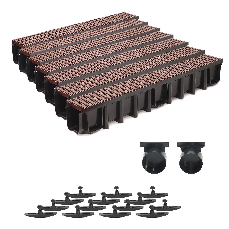 7m Entwässerungsrinne 148mm Einlaufkasten Stegrost Kunststoff inkl. Zubehör (braun)