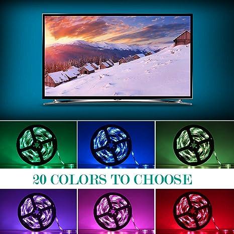 Adoric Ruban Led Rgb 2m 5050 Smd 60 Leds Light Strip Flexible Multicolore Décoration Chambre Tv Tableau Miroir Avec Télécommande De 17 Touches 5 Piles