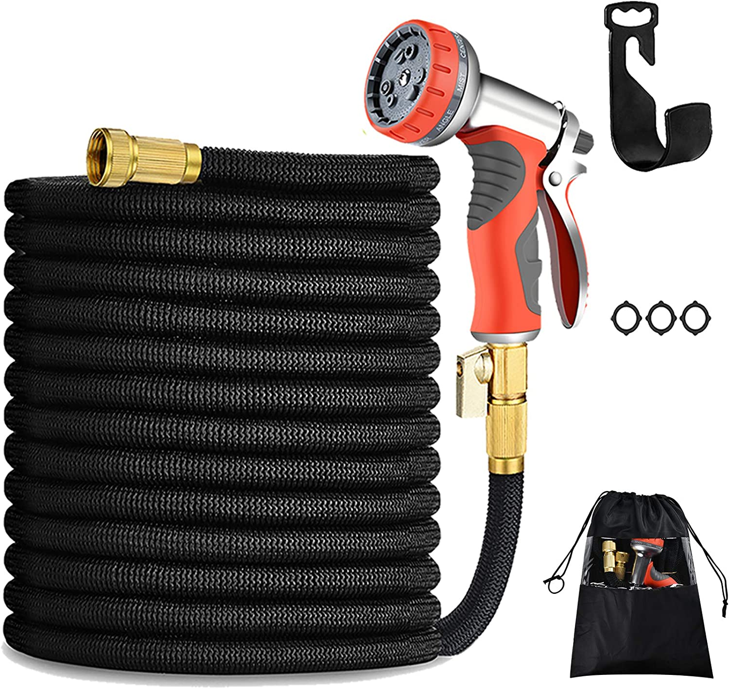 "100FT Expandable Garden Hose Durable No-Kink Flexible Garden Water Hose Set 3/4"" Solid Brass Fittings, 4-Layers Latex,3750D Extra Strength Fabric with Heavy Duty Metal Watering Patterns. (100FT-B)"