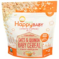 Happy Baby Organic Clearly Crafted Cereal Whole Grain Oats and Quinoa, 7 Ounce Bag...