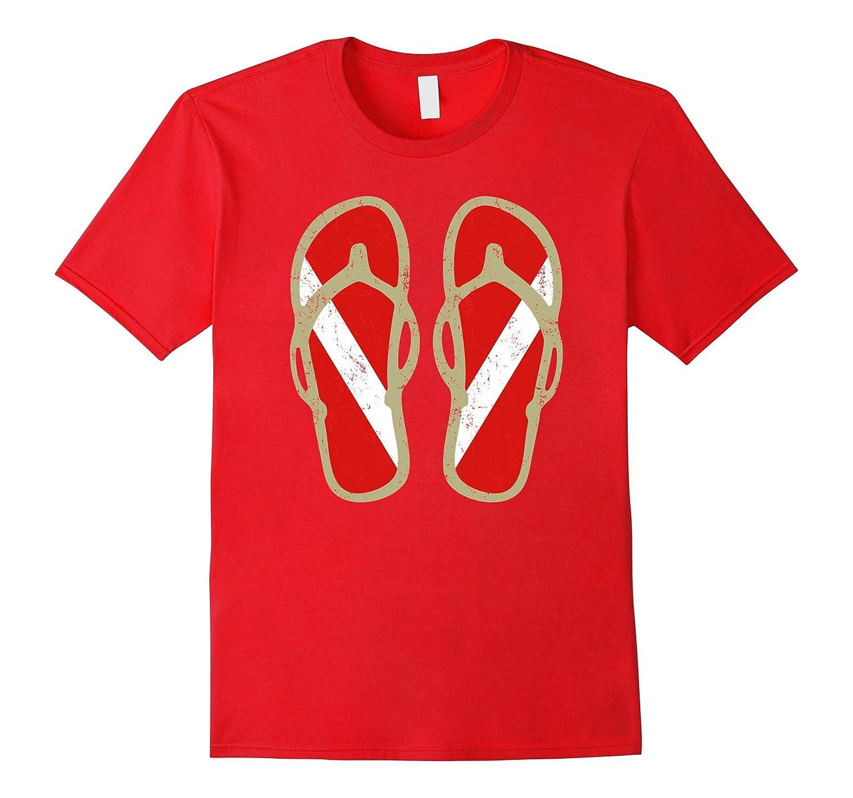 Diver Down Flag T-Shirt - Cool Vintage Flip Flops Scuba Tee-Vaci