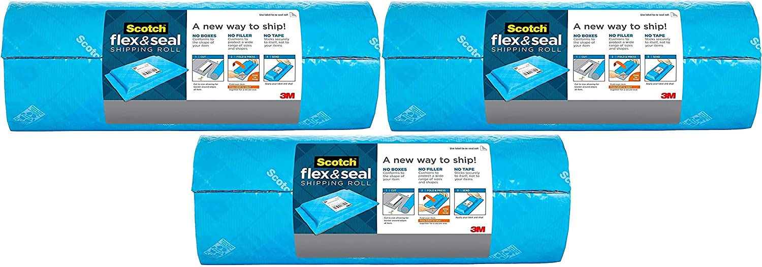 Easy Packaging Alternative to Poly Mailers Pack of 2 Eliminates Time Supplies Scotch Flex and Seal Shipping Roll 10 ft x 15 in Waste /& Space vs Boxes