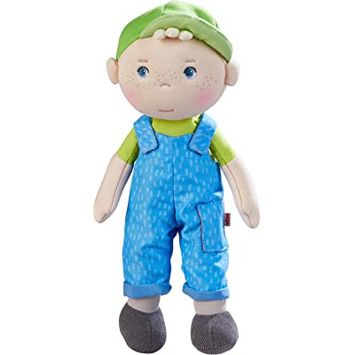 "HABA Snug Up Til - 10"" Soft Boy Doll with Blond Hair, Embroidered Face and Removable Blue Overalls (Machine Washable) for Ages 18 Months +: Toys & Games"