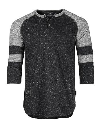 355763b81023 ZIMEGO Mens 3 4 Sleeve Baseball Football College Raglan Henley Athletic T- Shirt