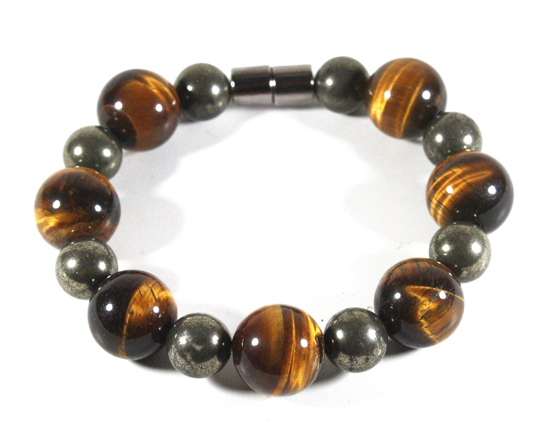 Tiger Eye Bracelet For Men/Women - Pyrite Bracelet - Strong Magnetic Clasp - Prosperity Crystals Bracelet - Luxury Tiger Eye Jewelry