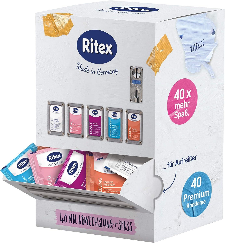 Ritex Surtido de preservativos mezclados, más selección y Mega-Diversión, 40 unidades, fabricado en Alemania