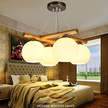 Amazon Com Frtej Hotel 4 Ceiling Light Wood Handicrafts American