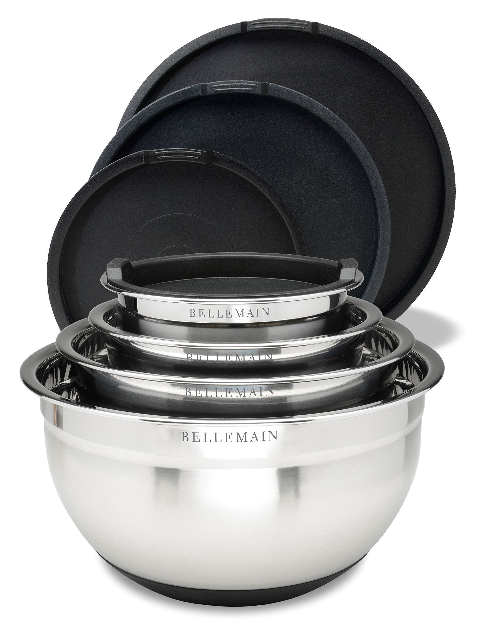 Top Rated Bellemain Stainless Steel Non-Slip Mixing Bowls with Lids, 4 Piece Set Includes 1 Qt, 1.5 Qt, 3 Qt. & 5 Qt. by Bellemain (Image #2)