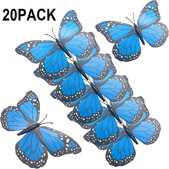 24pcs Lot 3D Colorful Artificial Butterflies with Iron Wire Party Home Decorate