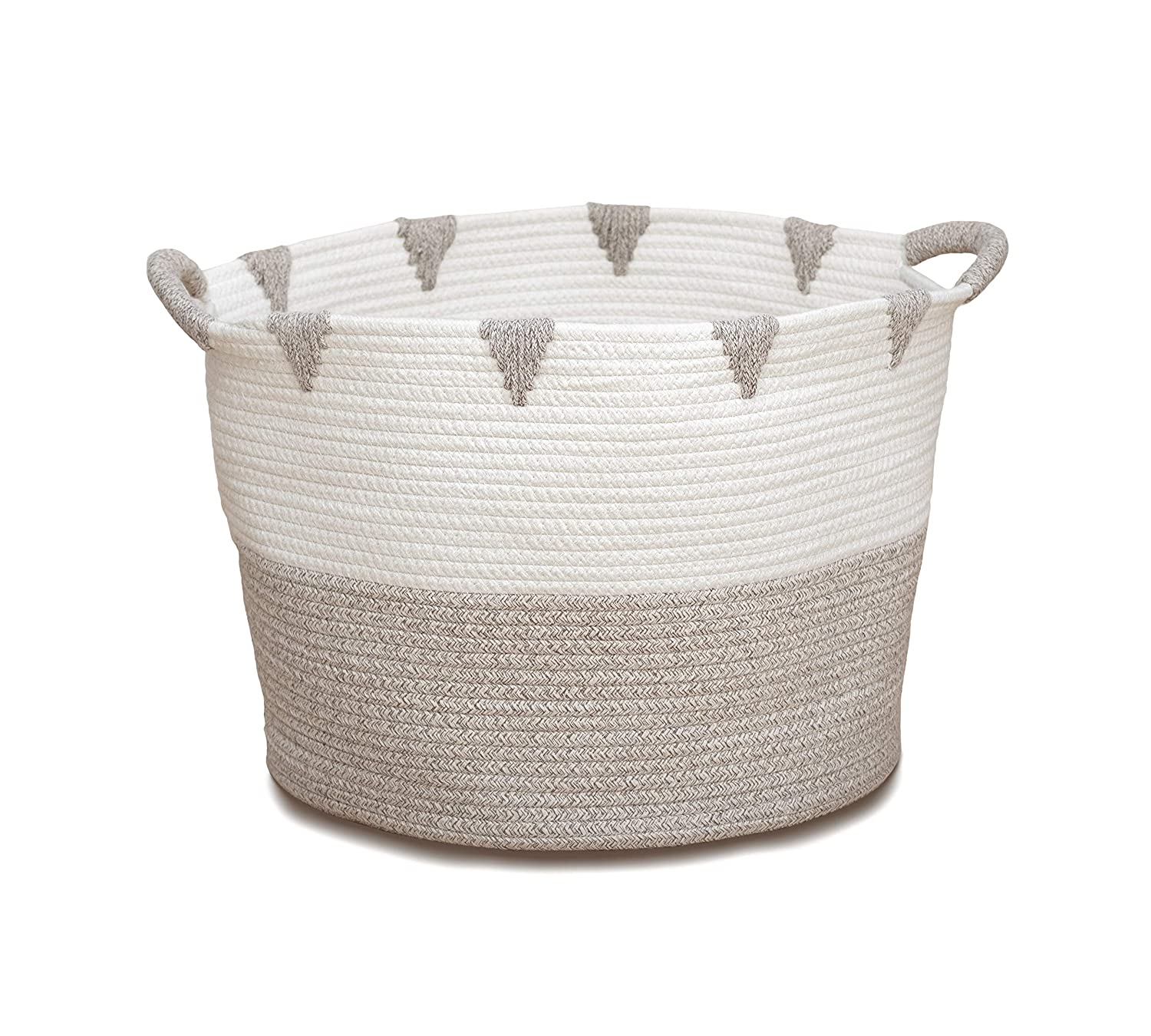 We Care Vida Storage Baskets | Woven Basket Made from Cotton Rope | Baby Laundry Basket with Handle | Decorative Nursery Hamper | Perfect Blanket Basket for Your Living Room