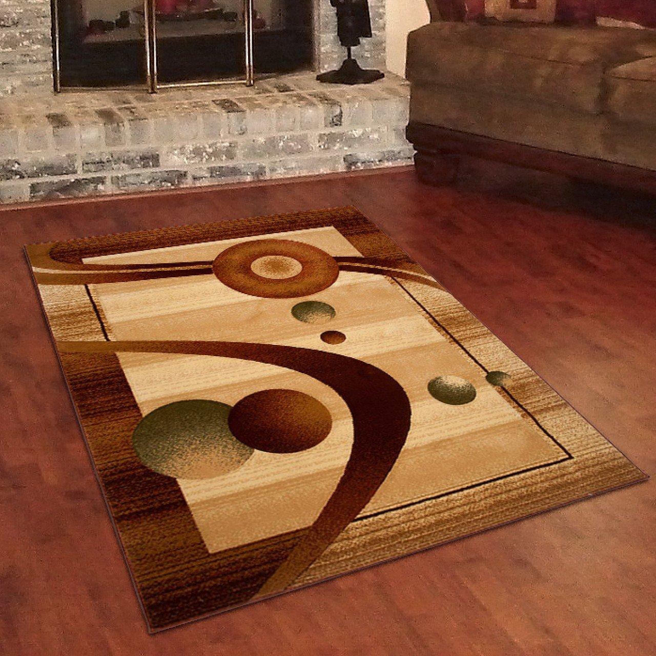 Designer Teppich Klassisch mit Konturenschnitt - Bordüre mit Weltall 3D Muster BEIGE - Beste Qualität -Roma Kollektion 200 x 290 cm