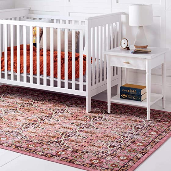 Rugs.Com Lucerne Collection Area Rug 9X12 Pink Low-Pile Rug Perfect