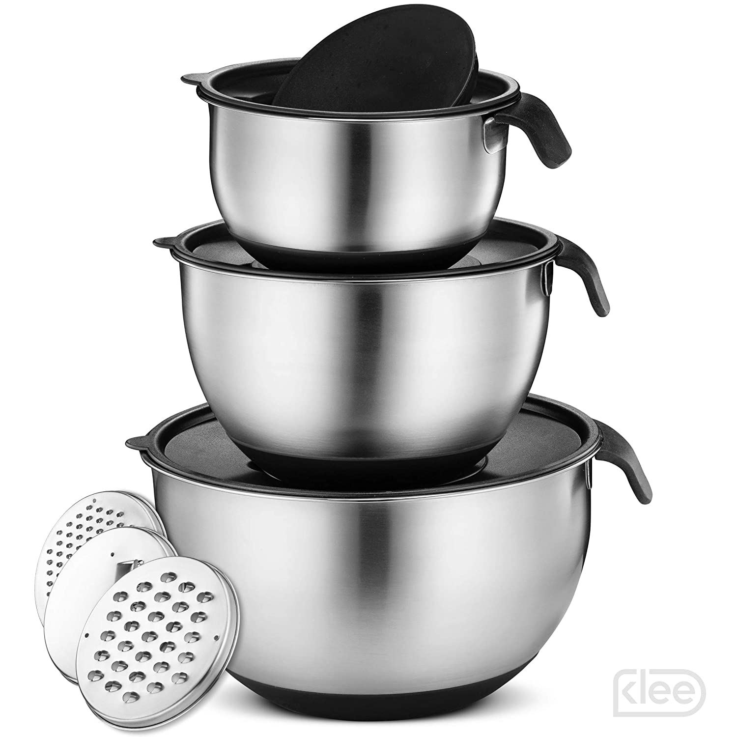 Klee Stainless Steel Mixing Bowl Set of 3 with Grater Attachments – Nesting Mixing Bowls with Handle and Pour Spout – Mixing Bowls with Airtight Lids – Non Slip Mixing Bowls with Silicone Base, Black