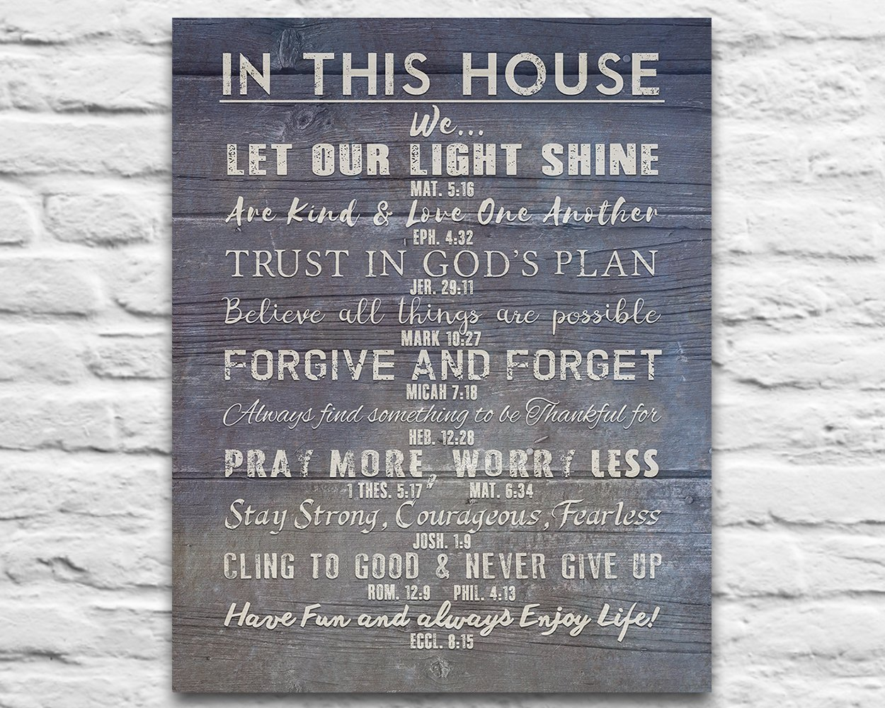 In This House Photo Print - Christian Bible Verse Family Rules ART, Scripture inspirational wall & home decor poster UNFRAMED poster, Housewarming gift, 8x10 inches by Art for the Masses