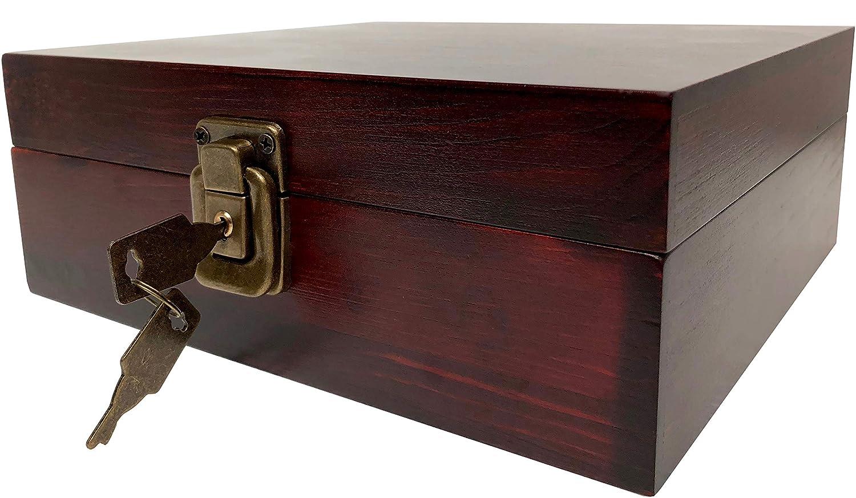 Locking Stash Box with Rolling Tray - Wood Stash Box with Lock - Safe Box with Rolling Tray Stash Boxes (Dark Brown)