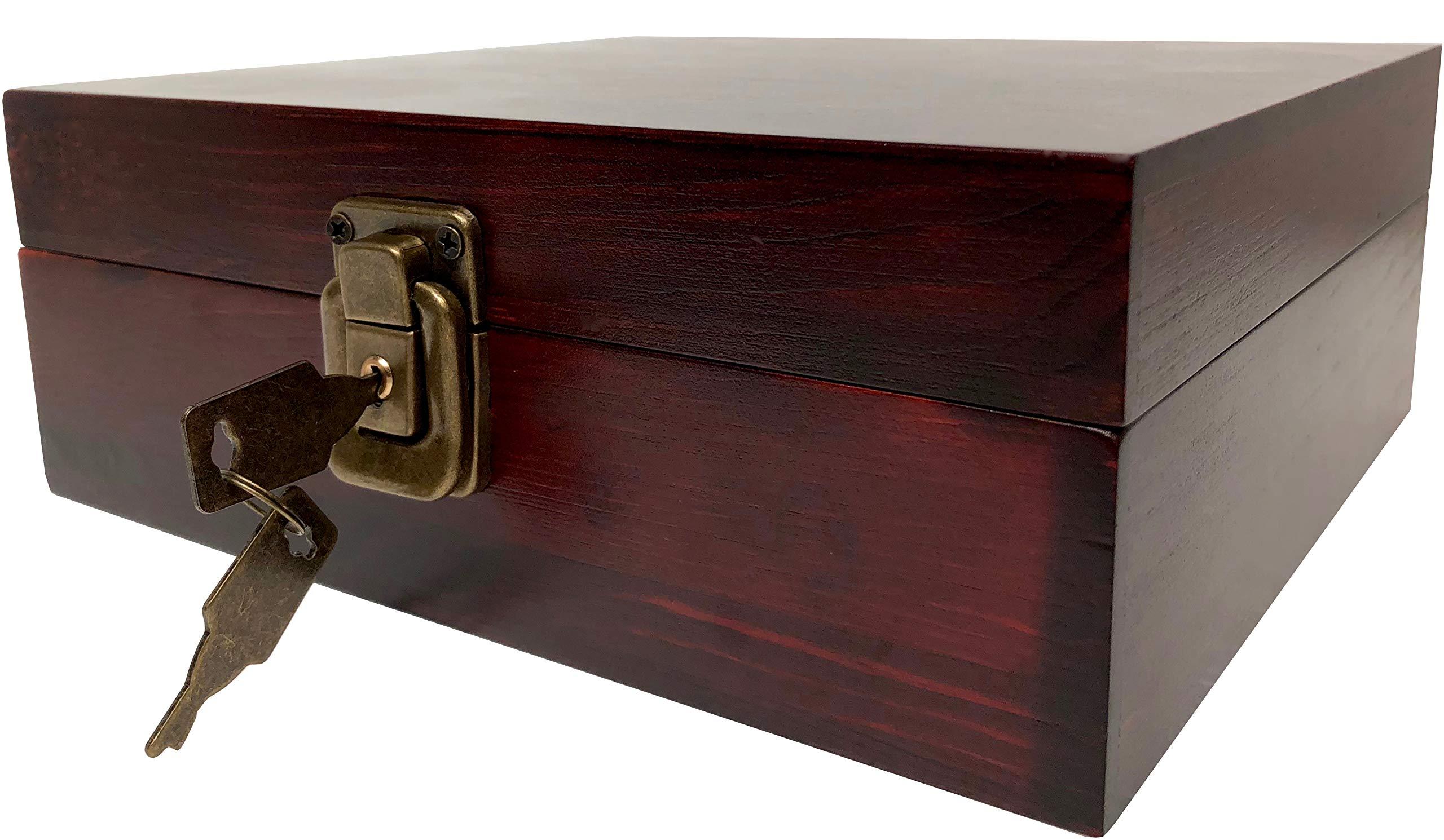 Locking Stash Box with Rolling Tray – Wood Stash Box with Lock – Wood Storage Box Stash Boxes (Dark Brown)